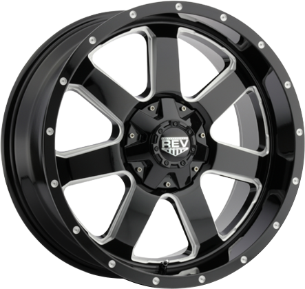 Black and Milled DV8 885 REV OFFROAD WHEEL