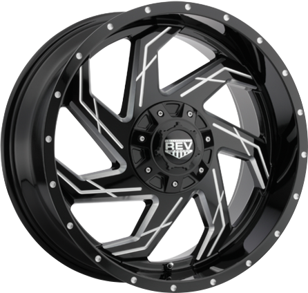 Black and Milled DV8 895 REV OFFROAD WHEEL